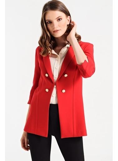 Jument Edana Yakalı Capri Kol Çift Düğmeli Ceket Kırmızı